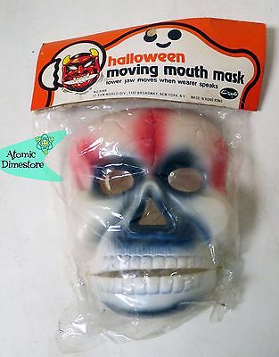 Vintage 1970s HALLOWEEN MOVING MOUTH MASK SKULL MONSTER MINT IN PACKAGE