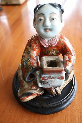 Antique Asian Hand Painted Porcelain Sitting Man Incense Burner Excellent Condit