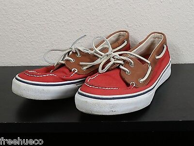 SPERRY TOP-SIDER Red/Light Brown Fabric/Leather Boat Shoes -Men's 11.5 M