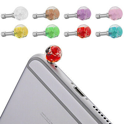 1PC Mobile Phone Luminous Earphone Crystal Anti Dust Cap Jack Plug Stopper 3.5mm
