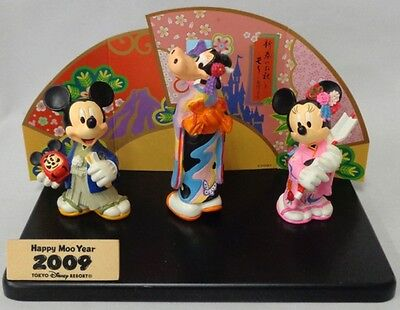 Tokyo Disney Land 2009 Mickey Minnie Goofy Figure New Year Figurine Japan FS #11