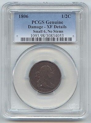 1806 Draped Bust Half Cent, PCGS Genuine,XF Details, Small 6, No Stems