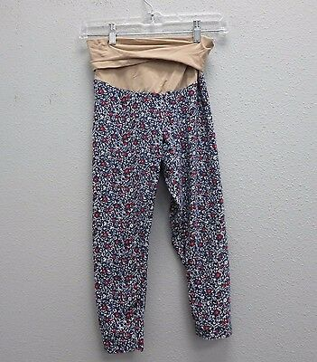 MOTHERHOOD MATERNITY Blue Calico Floral Leggings Pants M Crop Capri