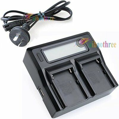 Dual Slot Battery Charger LCD Display +AU Cable For Sony NP-F550 NP-F750 NP-F970