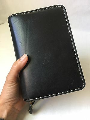 Franklin Covey Planner Organizer 6 Ring Binder 2 Section Black Leather Compact
