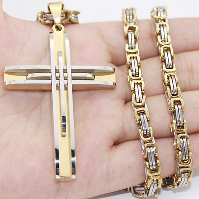 5mm Men's Silver Gold Stainless Steel Byzantine Chain PENDANT Necklace 22inch