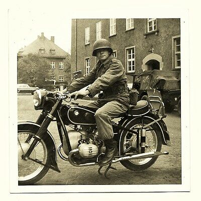 AMERICAN SOLDIER ON BMW R51/3 MOTORCYCLE ORIGINAL 1950's VINTAGE PHOTO
