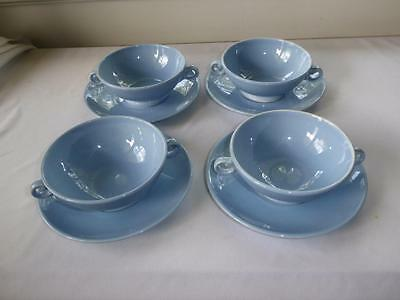 4 Luray Pastels Blue Cream Soup Bowls & Liners By Taylor & Smith & T  (Ts & T)