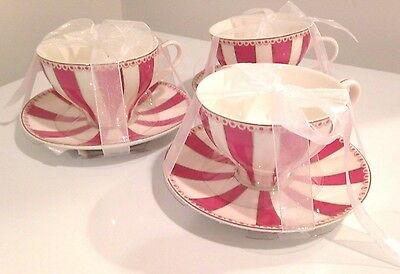 Meritage Teaware Pink & White Striped Tea Cup & Saucer (Set Of 3) -New