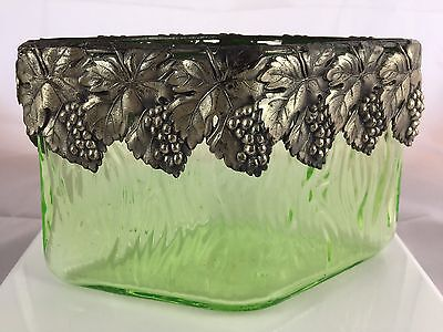 Antique Silverplate Vaseline Green Art Glass Diamond Shaped Grape Collar Vase