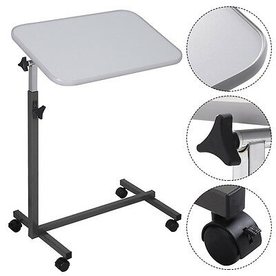 Overbed Rolling Table Over Bed Laptop Food Tray Hospital Desk Tilting Top Gary