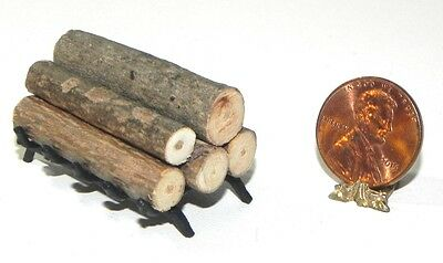 Dollhouse Miniature Fireplace Grate with Logs Island Crafts Minis 1:12 Scale