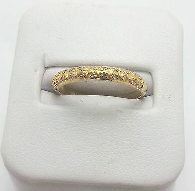 9Ct Yellow Gold Diamond Patterned Band Ring - Ring Size N