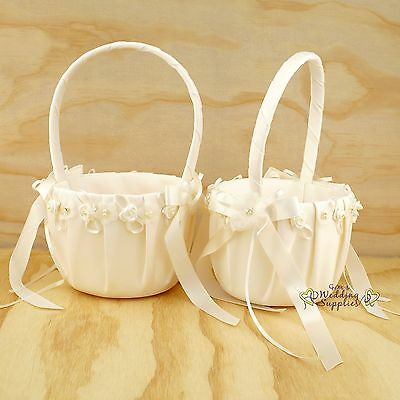 2 x Ivory Flower Girl Baskets Wedding Flowergirl