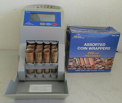 Royal Sovereign FS-3D Digital Coin Change Sorter/Counter w/ Wrappers - *WORKS*