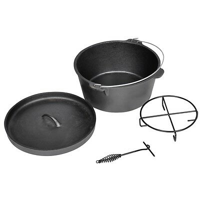 New Dutch Camping Oven Cooking Pot Set 9QT Pan Cast Iron With a Carrying Case
