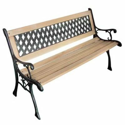 Garden Diamond-patterned Bench Outdoor Cast Iron Chair Wood Seat Patio Furniture
