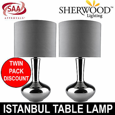 ISTANBUL Table Lamp Shade Lighting Living Grey Bedroom Bedside Chrome TWIN PACK