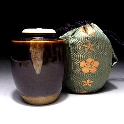 CG9: Vintage Japanese Tea Caddy of Kyo Ware with Shifuku cloth bag, Tea ceremony