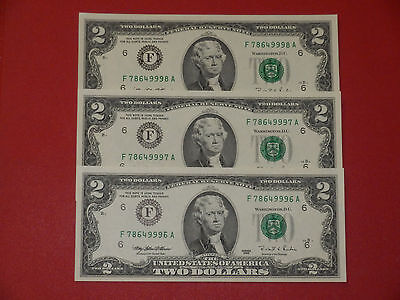 1995 USA Two Dollar Bills 3 x $2 in Consecutive Numbers. Rare. UNC