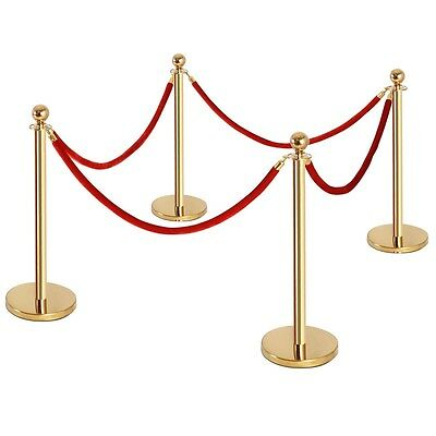 4X Stanchion Posts Queue Pole Thick Steel Velvet Rope Crowd Control Gold and red