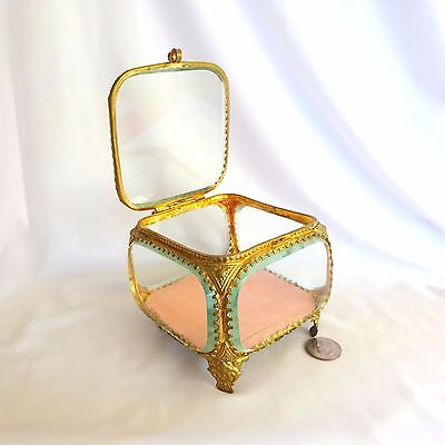Vintage Pink Jewelry Box Ring Art Nouveau French Antique Napoleon III Brass