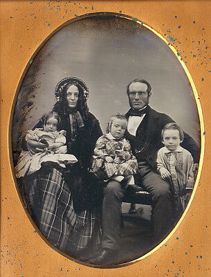 Superb Half Plate Daguerreotype Of A Happy Family In Boston Style Case