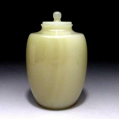 CF2: Vintage Chinese natural stone tea caddy, Light Green Stone, Jade