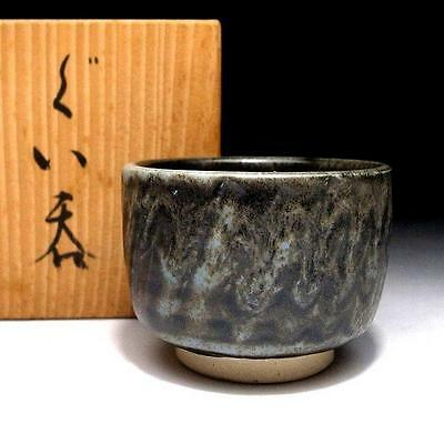 BF7 Vintage Japanese Pottery Sake cup, Seto ware with Signed wooden box, Guinomi