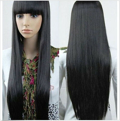 Women Straight Fashion Cosplay Full Wig Wigs Synthetic Wigs Long Black Hair Wigs