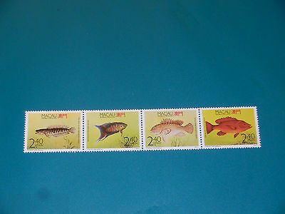 1990 Macau Macao Regional Fishes Stamps in Strip. MNH.