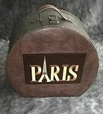 Antique VTG Embroidered Brown Leather Hat box Train Case Luggage Suitcase Paris