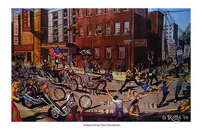 Dave Mann Ed Roth Studios Print Poster Chicago Peace Motorcycle Chopper