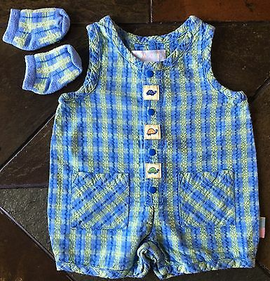 Gymboree Size 0 3 Months Vintage outfit Baby Boys One Piece Socks Blue Green