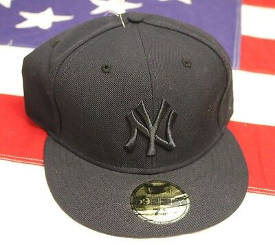 NEW YORK YANKEES SIZE 7 5/8 New Era NAVY BLUE 59Fifty FITTED Baseball Cap HAT