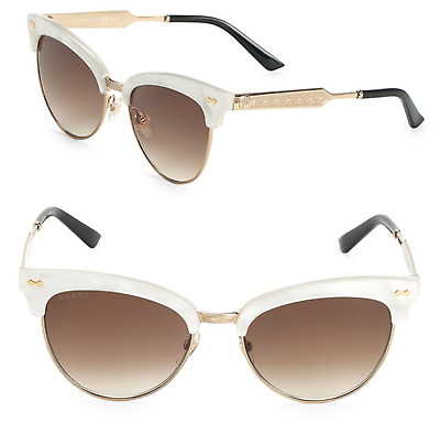 94712ba4ffaa GUCCI GG 4283/S Women Sunglasses White Gold Cat Eye Mother of Pearl Brown  U29JD