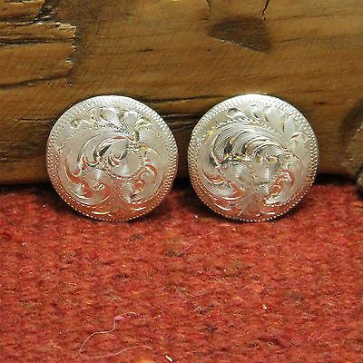 """Pair Vintage SOLID STERLING SILVER Mexico 1"""" Hand Engraved Conchos"""