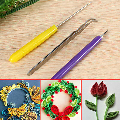 New 3Pcs Quilling Tweezer Slotted Paper Needle Cardmaking DIY Hand Craft Tool