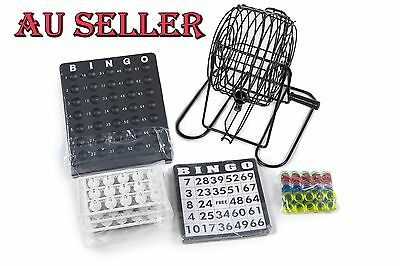 Bingo Machine Rotary With Wire Metal Cage 75 Balls 18 Cards 150 Markers Game Set