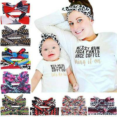 2PCS/Set Mom Mother & Daughter Baby Girl Bowknot Headband Hair Band Accessories
