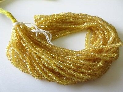 Yellow Sapphire Faceted Rondelle Beads 2-3mm Yellow Beads 16 Inch Strand GDS688