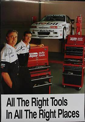 Peter Brock Signed Poster Mobil 1 Racing Repco Holden VN Commodore Tomas Mezera