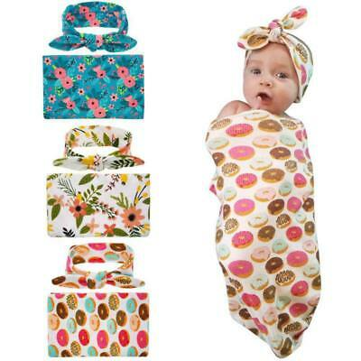 Newborn Cotton Swaddle Muslin Blanket Baby Wrap Swaddling Blanket Headband Set