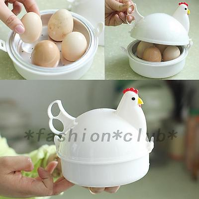 Chicken Shaped Microwave 4 Eggs Boiler Cooker Kitchen Cooking Appliance