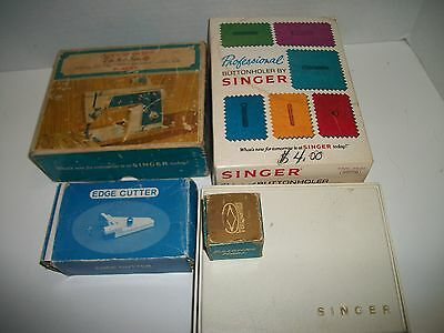 Lot of Singer Sewing Machine Attachments, Buttonholer & More