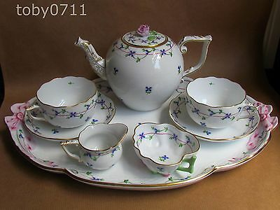 HEREND BLUE GARLAND CORNFLOWER TETE A TETE TEA FOR TWO SET -ROSE FINIAL (Ref861)