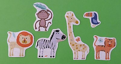Set of  childrens jungle animals  fabric iron on motifs/patches embellishments