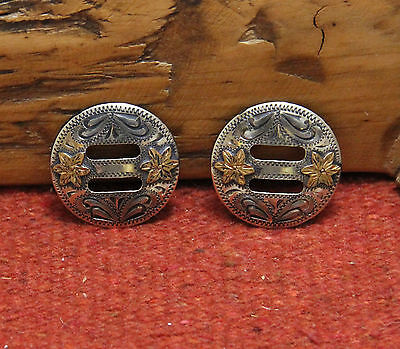 """Pair JT Silversmiths Antiqued German Silver 1-1/2"""" Slotted Conchos Maker Marked"""