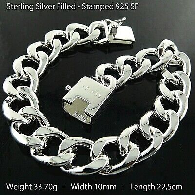 """Bracelet Bangle Real 925 Sterling Silver SF Solid Mens Heavy Curb Cuban Link 8"""""""