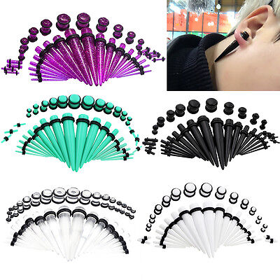 36pcs Gauges Acrylic Ear Taper Stretcher+Ear Plugs Expander Stretching Kits Set